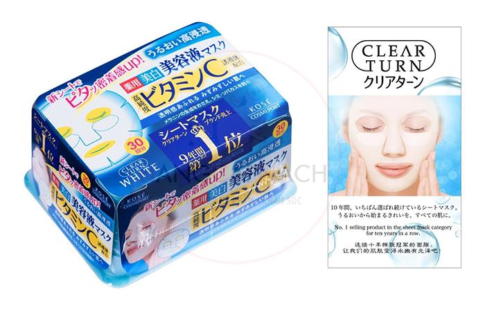 Mặt nạ Collagen Kose clear turn, dưỡng da hiệu quả.