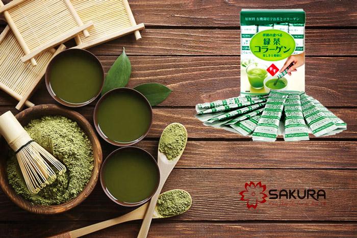 Bột Collagen Hanamai trà xanh cao cấp.